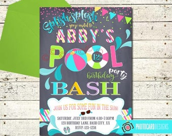 pool party invitation end of summer party pool party bash etsy