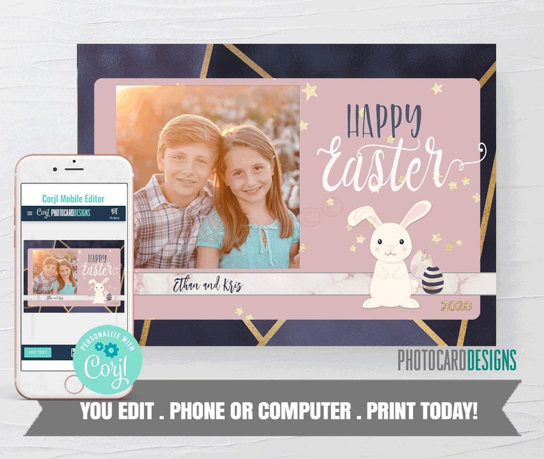 Easter Photo Card Printable Easter Card Easter Card Easter image 0