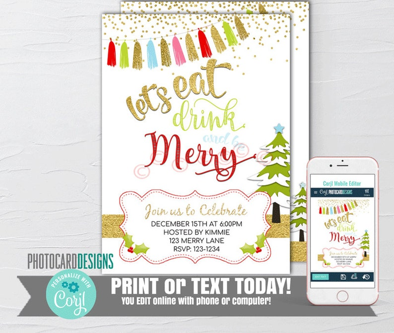 Christmas Invitation Christmas Party Invitation Let's image 0