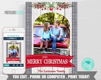 Family Christmas Card, Christmas Photo Card, Christmas Card, Christmas Card, 1 Photo Holiday Card, Text Editable Template Download #06