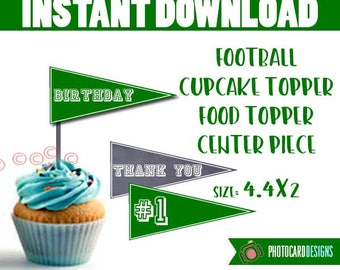 Football Cupcake Topper, Football Banner, Football, Football Cupcake, Food Topper, Football Party, Digital, Printable, PERSONALIZE