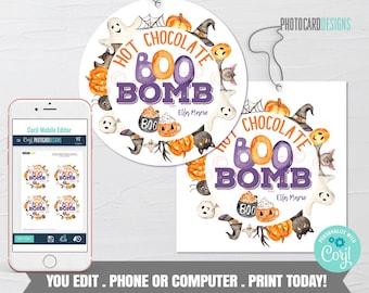 Halloween Hot Chocolate Bomb Tag, Boo Bomb Tag, Hot Cocoa Bomb Tag, Kids Treat Tag, Halloween Boo Bomb, Digital Editable Template Download