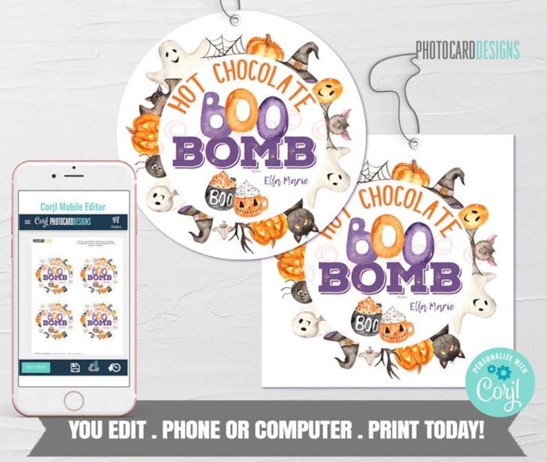 Halloween Hot Chocolate Bomb Tag Boo Bomb Tag Hot Cocoa Bomb image 0