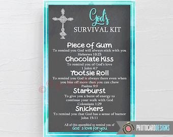 GODs SURVIVAL Kit Tag, PDF Printable, Church Tag, Survival Kit Printable, Treat Bag, Instant Download