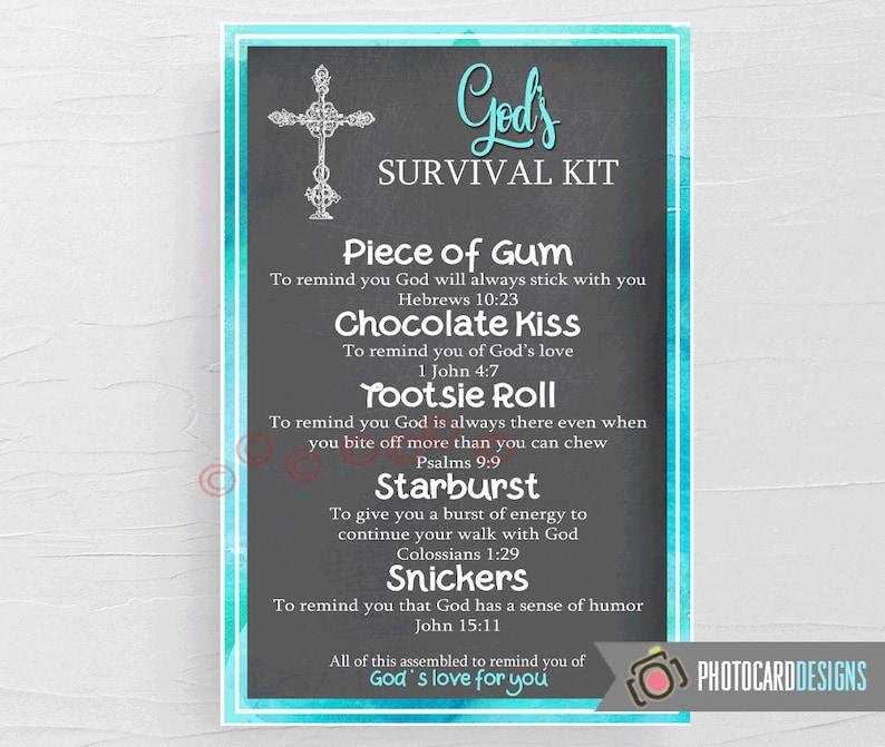 GODs SURVIVAL Kit Tag PDF Printable Church Tag Survival Kit image 0