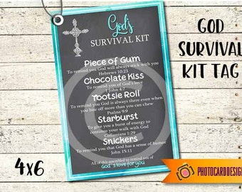 GODs SURVIVAL Kit Tag, PDF Printable, Church Tag, Survival Kit Printable, Treat Bag, Sunday School Class, PERSONALIZE
