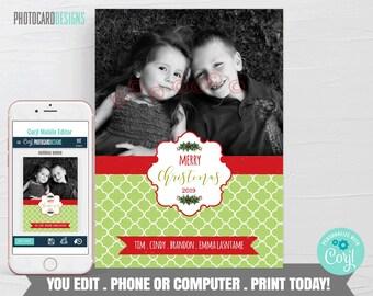 Family Christmas Card, Christmas Photo Card, Christmas Card, Christmas Card Digital File, Editable Template Printable Download #26