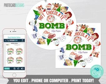 Christmas Hot Chocolate Bomb Tag, Hot Cocoa Bomb Tag, Kids Treat Tag, Hot Chocolate Bar, Christmas Friends, Digital Editable Template