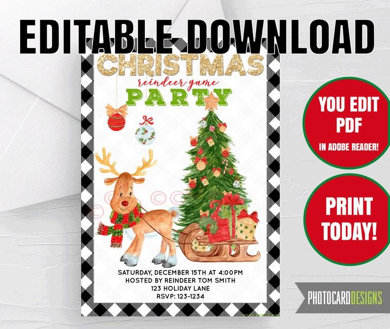 Reindeer Games Christmas Invitation Printable Holiday Buffalo image 0