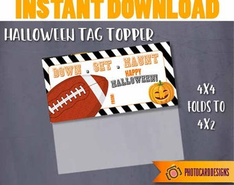 Football Halloween Tag, Football Treat Bag Topper, Halloween Printable, Football, Halloween, Digital School Treat Tag, Instant DOWNLOAD
