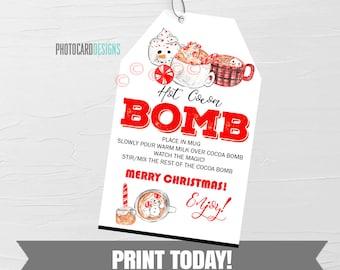 Christmas Hot Chocolate Bomb Tag, Hot Chocolate Bomb Tag, Hot Cocoa Bomb Tag, Kids Treat Tag, Hot Chocolate Bar, Digital Printable Download