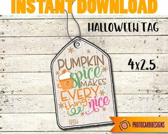 Pumpkin Spice and Everything Nice Tag Fall Halloween Thanksgiving Treat Bag Topper Digital Burlap School Gift Tag INSTANT DOWNLOAD