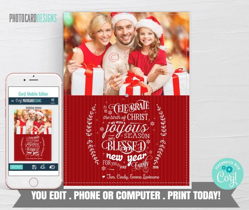 Family Christmas Card Christmas Photo Card Religious image 0