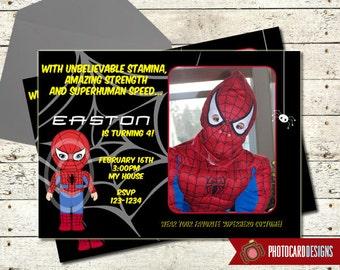 Superhero Birthday Invitation, Superhero Invitation, Photo Invitation, Boy Invitation, Digital, Halloween Birthday Invitation, Costume Party