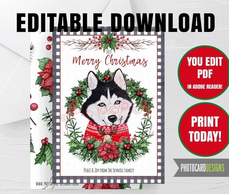 Husky Dog Christmas Card Puppy Pet Buffalo Check Plaid Holiday image 0