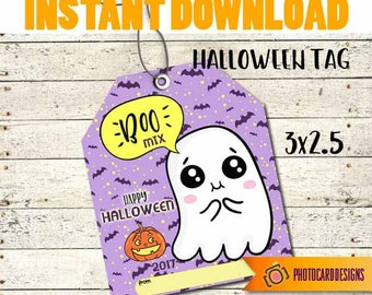 Halloween Treat Tag, BOO MIX Tag, Halloween Tag, Boo Tag, Ghost tag, School, Classroom, Treat Bag, kids, Candy, Digital, INSTaNT DOWNLOAD