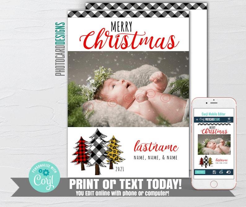 Editable Christmas Card Merry Christmas Card 1st Christmas image 0
