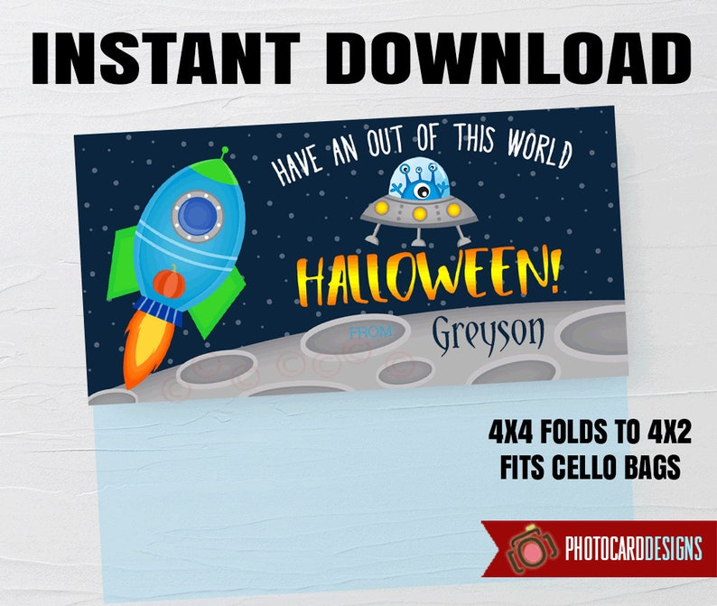 Space Treat Topper Space Printable Halloween Printable image 0