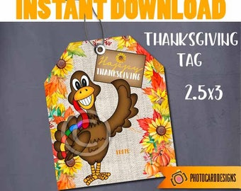 Thanksgiving Turkey Tag Friendsgiving Treat Bag Topper Printable School Classroom Candy Digital INsTANT DoWNLOAD