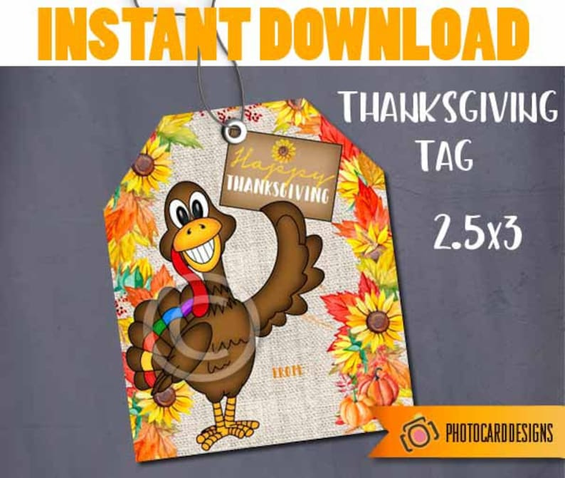 Thanksgiving Turkey Tag Friendsgiving Treat Bag Topper image 0