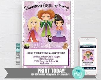 Hocus Pocus Halloween Invitation, I smell children, Costume Party Invitation, Witch Invitation, Digital Editable Template, Text Invitation