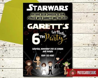 Star Wars Invitation, Star Wars Birthday Photo Invitation, Star Wars Birthday, Starwars Party, Party, Star Wars, Boy, Digital, Print, invite