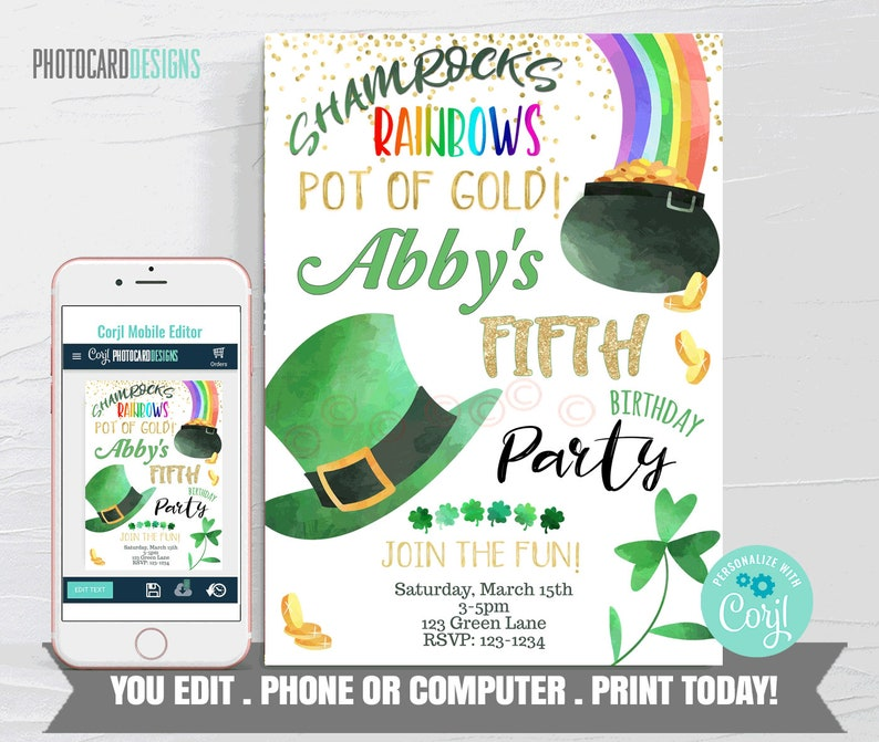 St Patricks Birthday Invitation St Patricks Invitation St image 0