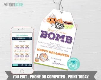 Boo Bomb Tag, Halloween Hot Chocolate Bomb Tag, Hot Cocoa Bomb Tag, Kids Treat Tag, Halloween Boo Bomb, Digital Editable Template