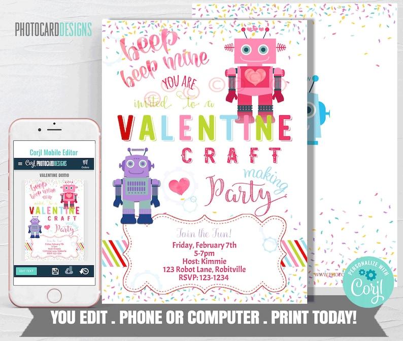 Valentines Party Invitation Valentine Invite Robot image 0