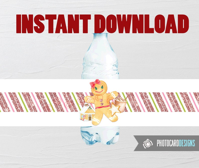 Gingerbread Water Bottle Label Gingerbread Party Printable image 0