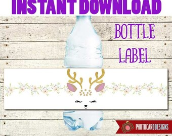 Deer Face Bottle Label, Deer Face Party, Deer Face Water Bottle label, Water Bottle, Deer, DEER FACE, Chrismas Party, Digital Printable