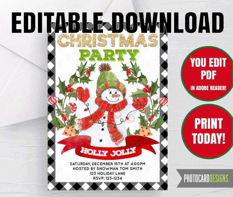 Snowman Christmas Party Invitation Frosty Winter Wonderland image 0