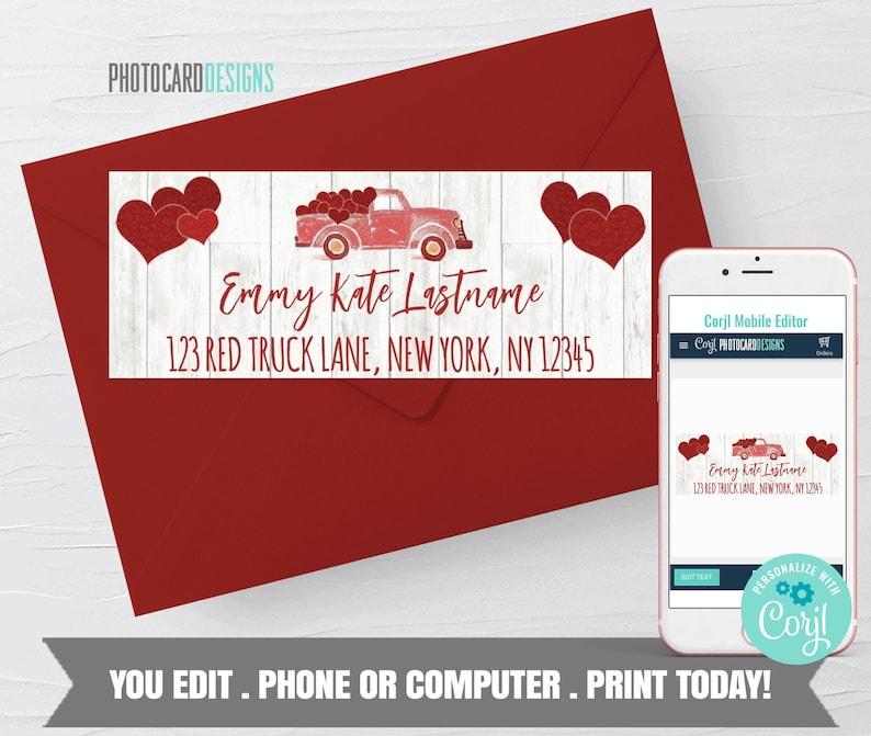 Valentine Return Address Label Red Truck Valentine Sticker image 0
