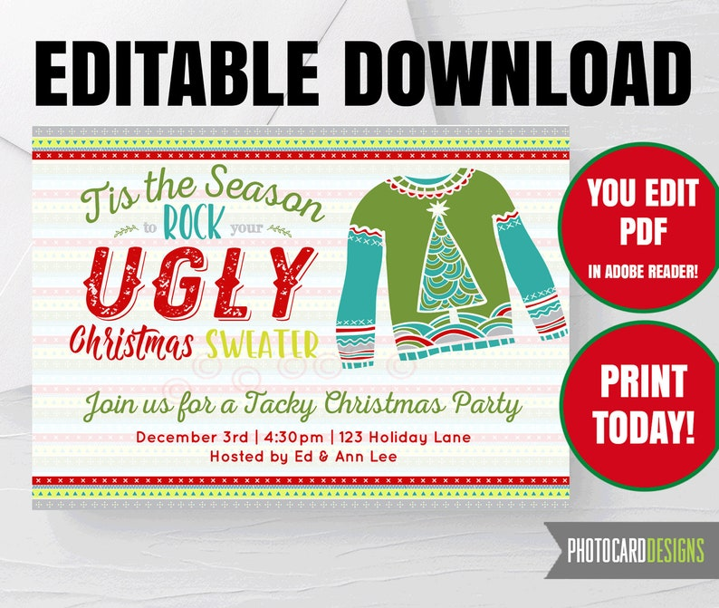 Ugly Sweater EDITABLE Invitation Ugly Sweater Party image 0