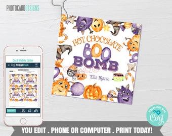 Boo Bomb Tag, Halloween Hot Chocolate Bomb Tag, Hot Cocoa Bomb Tag, Kids Treat Tag, Halloween Boo Bomb, Digital Editable Template Download