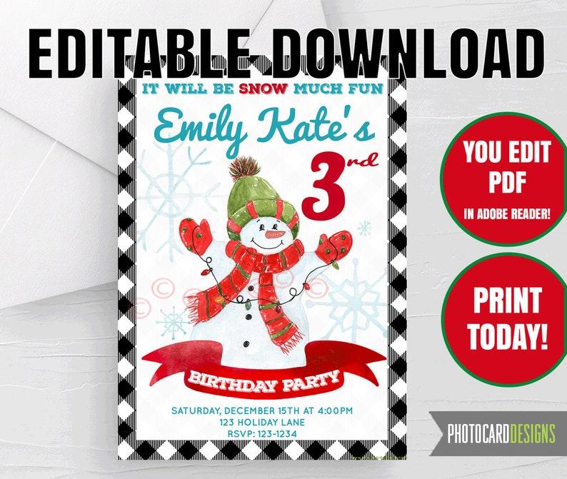 Snowman Birthday Invitation Winter Christmas Party Buffalo image 0