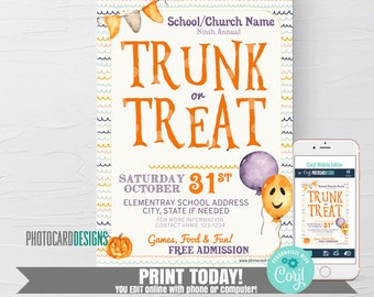 Trunk or Treat Halloween Invitation, Trunk or Treat Flyer, Kids Halloween Party Invitation, Costume Party, Trick or Treat, Editable Template