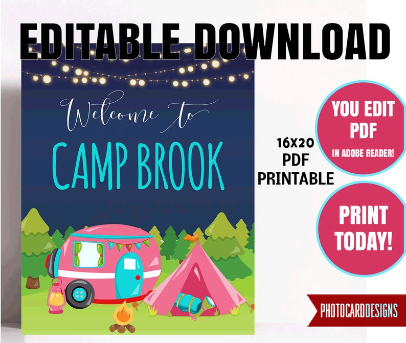 Camping Party Welcome Sign Birthday Party Sign Printable image 0