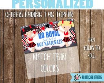 Cheerleading Good Luck Tag, Cheerleader Treat Bag Topper, Cheerleader Printable, Favor Tag, Cheerleader, Digital Treat Bag, PERSONALIZE