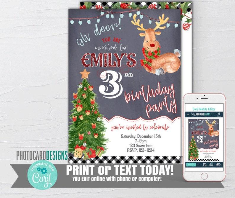 Reindeer Invitation Reindeer Christmas Party Invitation image 0