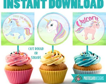 Unicorn Cupcake Topper, Unicorn Party, Unicorn, Unicorn Cupcake, Cupcake Topper Printable, Party, Digital, Printable, INsTANT DoWNLOAD