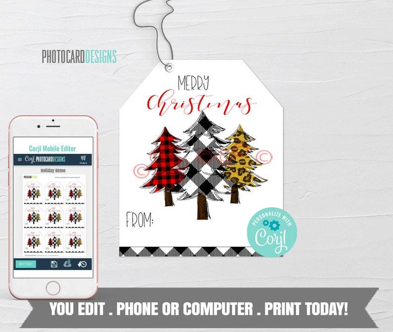 3 Trees Christmas Tags Funky Trees Printable Christmas Gift image 0
