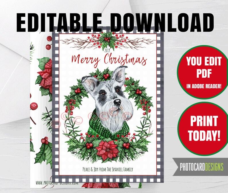 Schnauzer Dog Christmas Card Miniature Puppy Pet Buffalo Check image 0