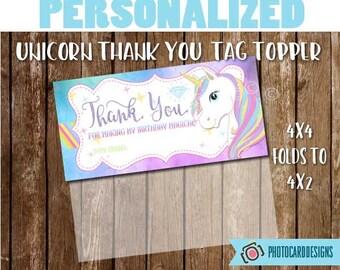 Unicorn Tag Topper, Unicorn Party, Unicorn, Unicorn Thank You Favor, Party Favor, Tag Topper Printable, Unicorn, Party, Digital, Printable,