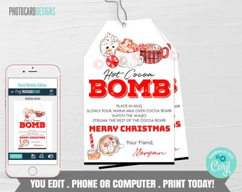 Christmas Hot Chocolate Bomb Tag, Hot Chocolate Bomb Tag, Hot Cocoa Bomb Tag, Kids Treat Tag, Hot Chocolate Bar, Digital Editable Template