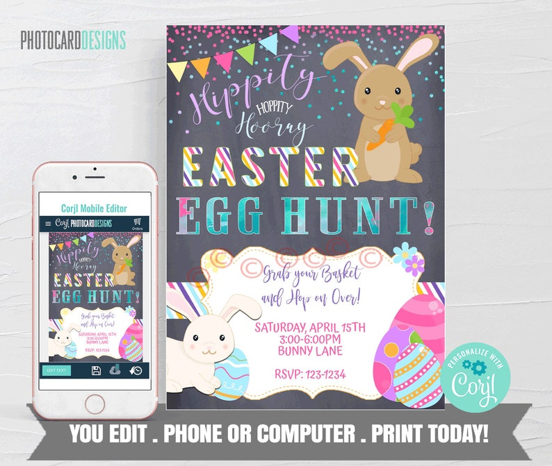 Easter Invitation Easter Egg Hunt Easter Template Easter image 0