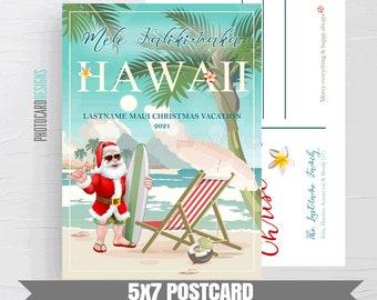 Mele Kalikimaka Hawaii Postcard, Hawaii Christmas Vacation Postcard, Hawaiian Christmas Card, Digital 5x7 Postcard Printable, Maui Christmas
