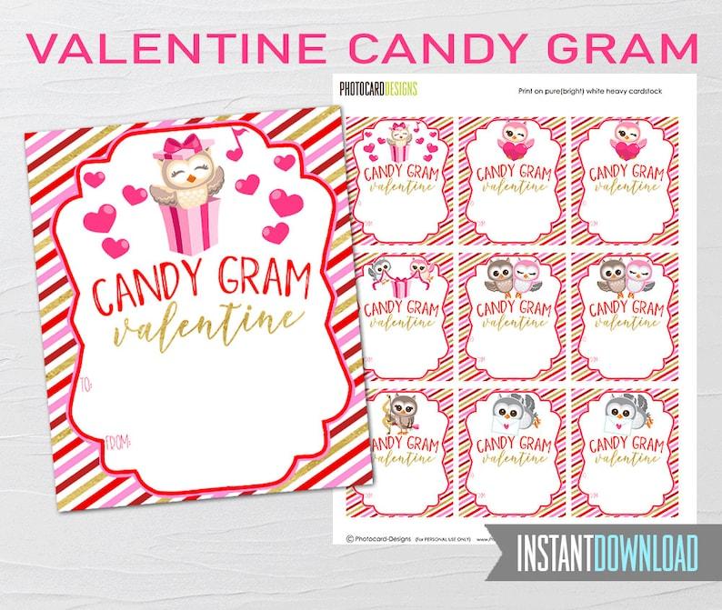 Valentine Candy Gram Owl Valentines School Valentines Owl image 0