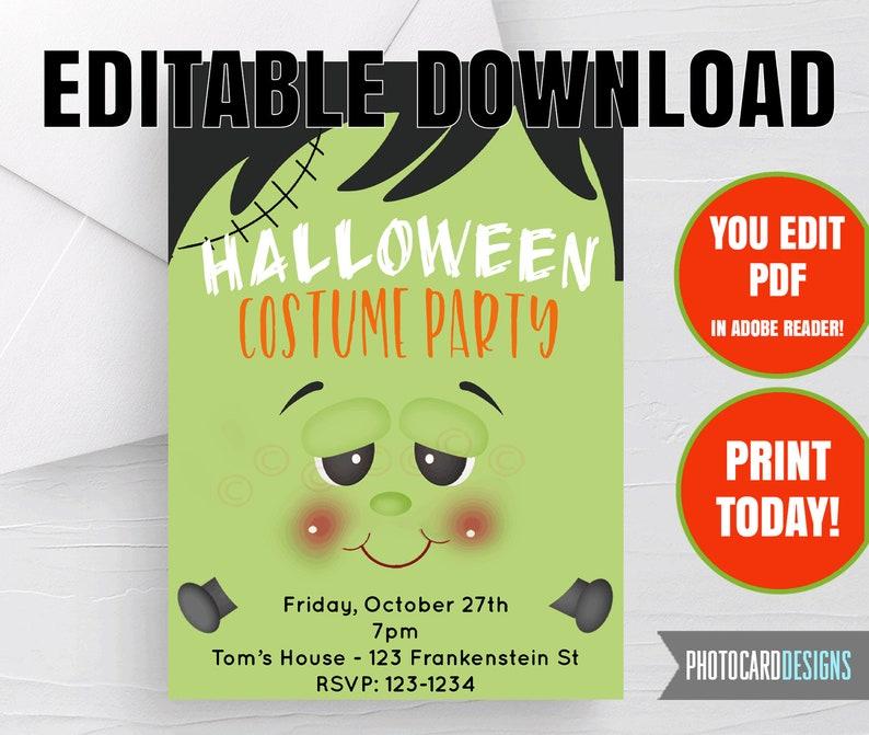 EDITABLE FRANKenstein Invitation Halloween Invitation image 0