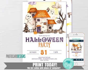 Halloween Invitation, Costume Party Invitation, Haunted House Invitation, Kids Halloween Party Invitation, Text Invitation Editable Template